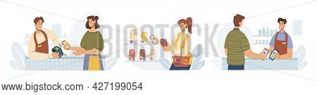 Contactless Pay, People Paying By Smartphone, Flat Cartoon Vector Illustrations Set. Mobile Payments
