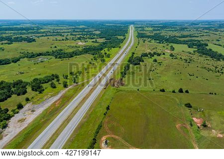 Aerial View Panorama Of Original The Historic Route 66 Roadbed Near Clinton Oklahoma Its Route 66 De