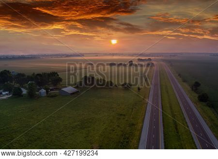 Sunrise Over The Meadow In The Morning Fog Sunrise Natural Landscape Mist Over The Field