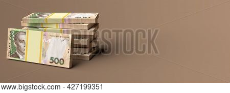 Stack Of Ukrainian Money Hryvnia (grivna, Hryvna) With 500 Banknotes With Blank Copy Space Backgroun
