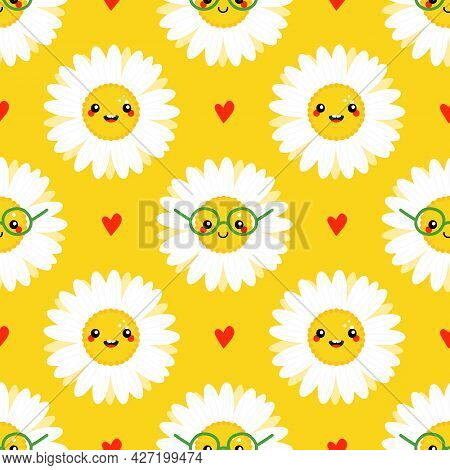 Cute Camomile, Daisy Flowers Characters And Red Hearts Vector Seamless Pattern Background For Nature