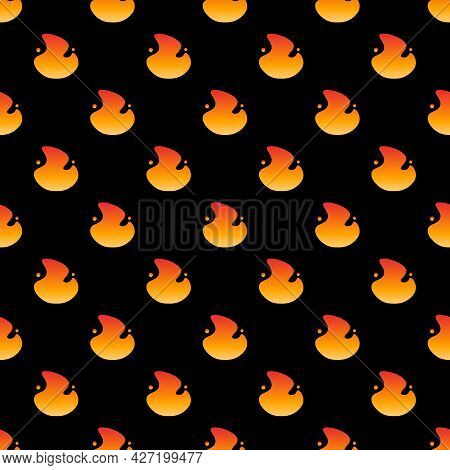 Black Vector Seamless Pattern Background With Burning Fire, Flame Symbols, Emoji.