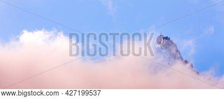 Fantastic Evening Snow Mountains Landscape Background. French Alps, Aiguille Du Midi, Chamonix Mont-