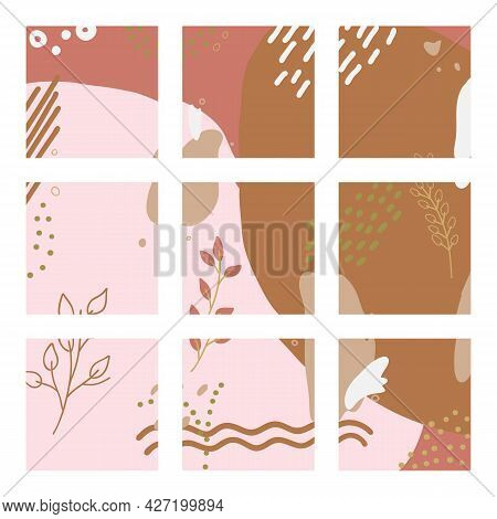 Vector Mockup For Social Media In Abstract Design. Editable Templates In Fall Colors For Posts In So
