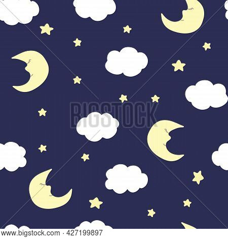 Vector Seamless Pattern With Crescent, Stars, And Clouds On Purple Backdrop. For Fabric, Textile And