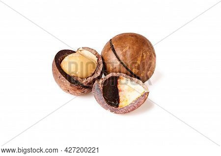 Macadamia Nuts Isolated On White Background, Close Up