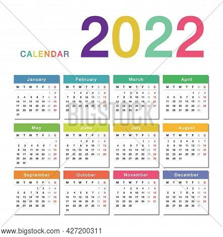 Colorful Year 2022 Calendar Horizontal Vector Design Template, Simple And Clean Design. Calendar For