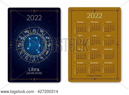 Libra Pocket Size Calendar Layout With Zodiac Sign. 2022 Year Double Sided Vertical Calendar With Li
