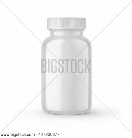 White Blank Medical Pill Bottle With Cap Mockup. Round Medicine Plastic Jar, Pharmaceutical Containe