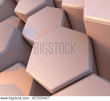 3D render of an abstract web background with bevelled extruding hexagons