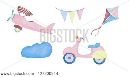Watercolor Aquarelle Set For Kids Children. Scooter Kite Airplane And Flags In The Clouds On White B