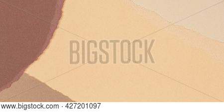 Torn Grunge Ripped Beige Brown Geometric Paper Background. Colorful Torn Paper Collage Wallpaper