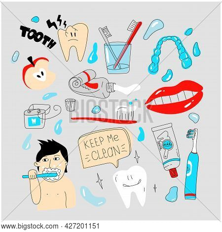Dental Care Doodle Set. Simple Tooth Care Illustration. Tools For Healthy Teeth. Floss And Toothbrus