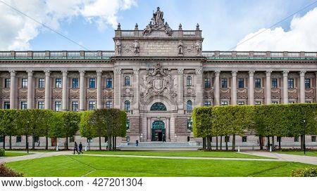 Stockholm, Sweden - May 20, 2015: Parliament of Sweden (Sveriges riksdag) in Stockholm
