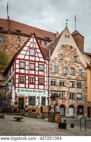 Nuremberg, Germany - May 17, 2016:  Houses in the old town at the foot of Kaiserburg in  Nuremberg