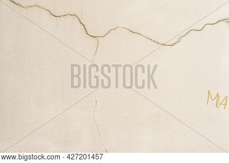 Texture Of Cracked Wall With The Old And Damaged Stucco, Plaster, Beige Color. For Background, Patte
