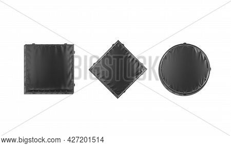 Blank Black Square, Rhombus And Round Stretching Banner Mockup, Isolated, 3d Rendering. Empty Outsid