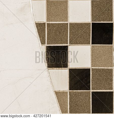 Beige And Brown Ceramic Tiles, Wall Decoration, Vintage Texture. Square Background
