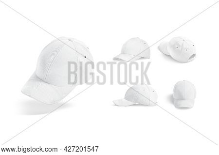 Blank White Baseball Cap Mockup, Different Views, 3d Rendering. Empty Jeans Or Flannel Head-dress Mo