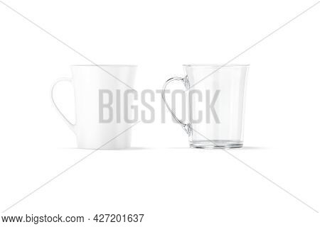 Blank Ceramic And Glass Bell-shaped 11oz Mug Mockup, Front View, 3d Rendering. Empty Crystal And Por