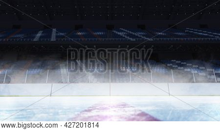 Blank Ice Skates Background Mock Up, Front View, 3d Rendering. Empty Training Sporty Space With Trib