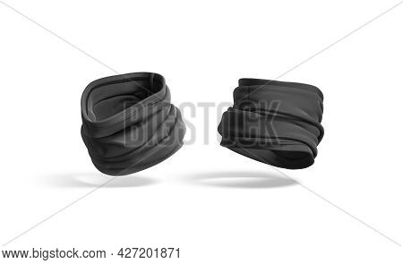 Blank Black Folded Neck Gaiter Mockup, Half-turned View, Side Back, 3d Rendering. Empty Cloth Face M