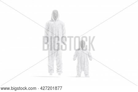 Blank White Adult And Kid Plush Jumpsuit With Hood Mockup, 3d Rendering. Empty Hooded Fleece Onesie