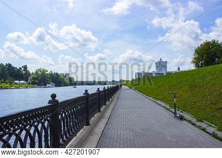 Embankment Of The Moskva River In The Area Of The Pavshinskaya Floodplain.