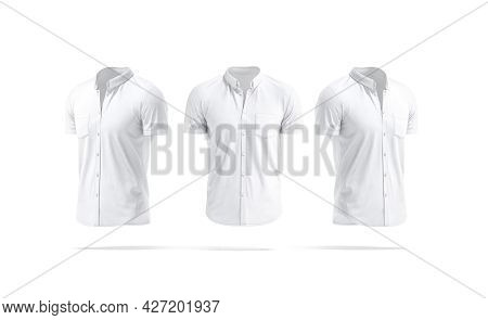 Blank White Short Sleeve Button Down Shirt Mockup, Front Side View, 3d Rendering. Empty Men Jersey B