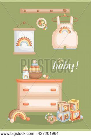 A Cute Vector Of Baby Boy Bohemian Items And Toys Card