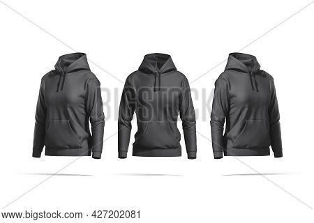 Blank Black Women Sport Hoodie Mockup, Front And Side View, 3d Rendering. Empty Daily Woman Sweatshi