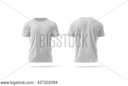 Blank Melange Wrinkled T-shirt Mockup, Front And Back View, 3d Rendering. Empty Everyday Classic App