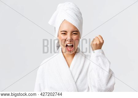 Personal Care, Women Beauty, Bath And Shower Concept. Close-up Of Mad Young Asian Woman In Bath Towe