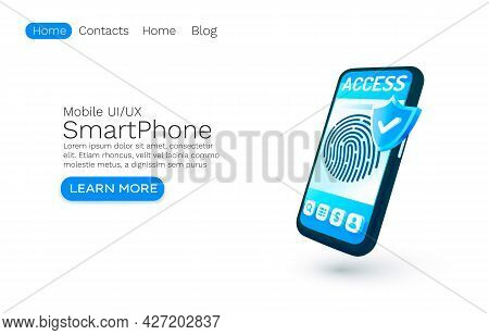 Smartphone Login App Banner Concept, Place For Text, Access Online Application, Authorization Mobile
