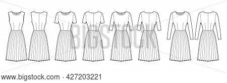 Set Of Dresses Pleated Technical Fashion Illustration With Long Elbow Short Sleeves Sleeveless, Fitt