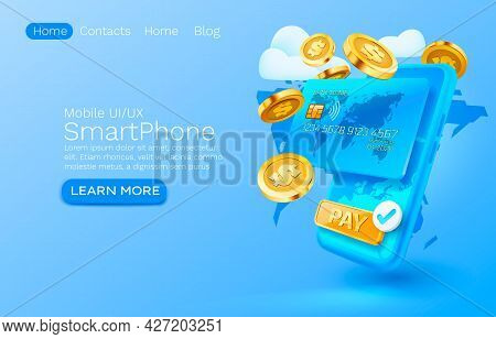 Mobile Pay Service, Financial Payment Smartphone Mobile Screen, Technology Mobile Display Light. Vec