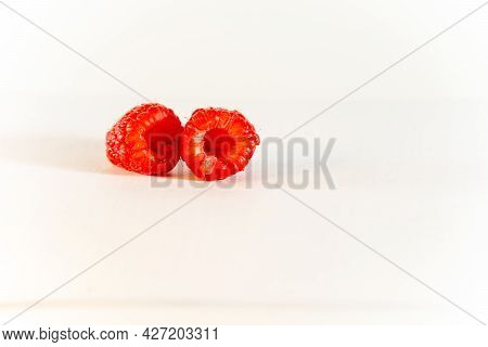 Raspberries, Two Berries, Red, Scarlet, Ripe, Close-up, Horizontal, Food And Drinks, White Backgroun
