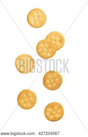 Cracker Cookies Falling Isolated On White Background With Clipping Path.