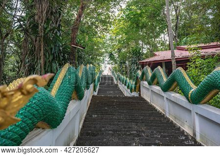 Phu Chang Noi Stairway With Naga Statue At Chiang Khan Loei Thailad.chiang Khan Is An Old Town And A