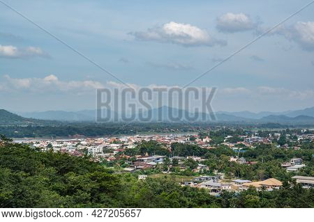 Cityscape View Of Chiang Khan District On Phu Chang Noi Viewpoint At Chiang Khan Loei City Thailand.