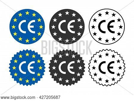Europe Ce Mark Symbol Sign Symbol Isolated On White Background. Made In Europe Label.  Vector Stock