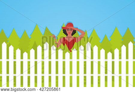Curious Woman Looking Over Fence. Vector Illustration. Eps10.