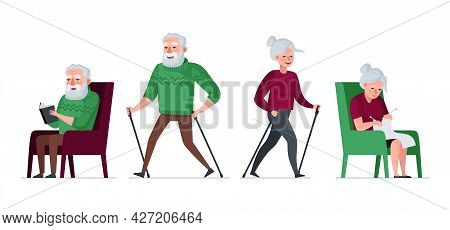Elderly Couple Retired Leisure Time Set. Nordic Walk Active Cheerful Healthy Old People. Senior Aged