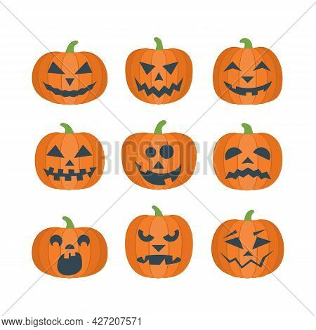 Collection Of Cartoon Orange Pumpkins With Funny Carving Scary Smiling Faces. Decorative Elements La