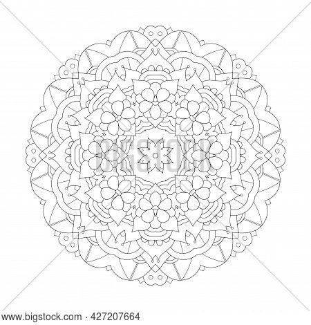 Mandala Design Element. Symmetric Round Ornament. Abstract Doodle Background. Coloring Page. Vector