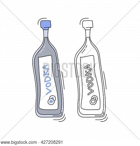 Vodka On White Background. Two Kinds Beverage. Cartoon Sketch Graphic Design. Doodle Style With Blac