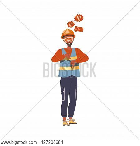 Dissatisfied Man Worker In Safety Vest Protesting Defending His Rights Vector Illustration
