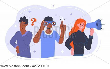 Candidate Search Concept. Characters With Binoculars And A Megaphone Announce The Recruitment Of New