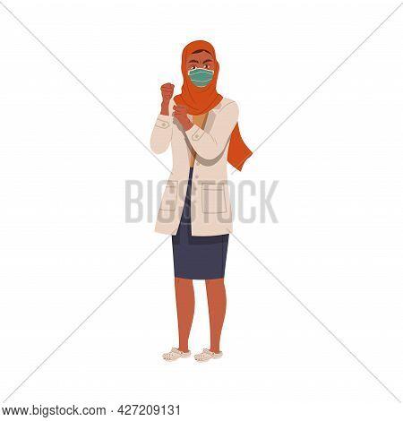 Dissatisfied Muslim Woman Medical Worker In Uniform Protesting Defending Her Rights Vector Illustrat