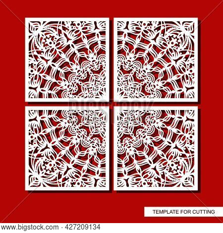 Four-piece Square Panel, Picture. Oriental Pattern, Curls, Decorative Carved Ornament, Leaves And Fl